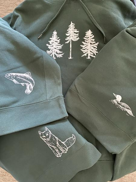 Three Pines Collection By The Woods Maine Heavy Hoodies